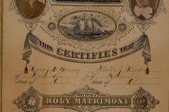 1879, repeat of marriage certificate Harvey D Bonney and Mattie J Wheeler