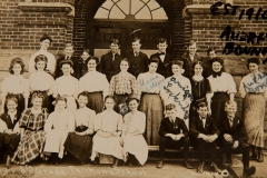 """1910; far left is Audrey Bonney; 4th from left middle row ariana Locknedge; 5th from left Jesse Feller; group is """"319 - 8th Grade Faithome School  Lorain, O. Back shows it is a post card manufactured by The Leiter Post Card Co., Lorain, Ohio"""