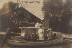 """1910, """"Est 1910, Lorain OH"""", On building: """"BONNEY'S BOAT HOUSE, GAS LAUNCH, ROW BOATS TO LET, PHONE 438 White, E5525 ?"""""""