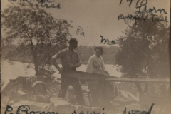 """1910, labled """"Pa  Ma"""" , """"walnut tree"""", """"thorn apple tree"""" and """"Pa Bonney sawing wood"""" [Black river is in background]"""