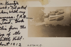 """1912, """"Mr Krantz's back and Not so Bad taken with my camera. E.A.Bonney, Fred Bonney took this from the top of the little Hill, Lorain, O"""""""